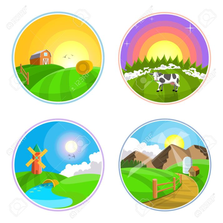 Countryside landscape illustration with hay, field, village and windmill. Farml landscape icon set.