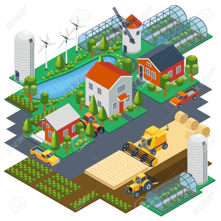 Isometric farm scene. Village setting with buildings, tractor, combine, pickup, pond and mill. Vector illustration
